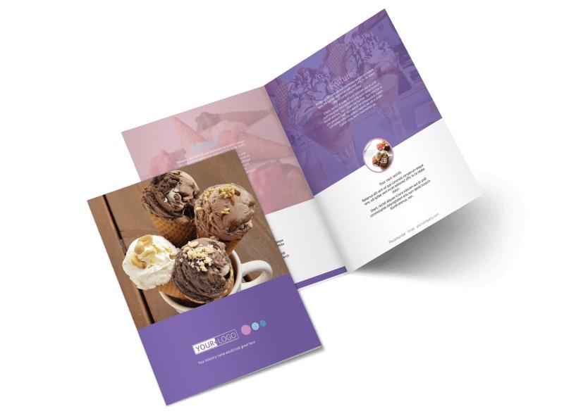 Sweets Ice Cream Shop Bi-Fold Brochure Template