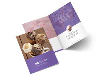 Sweets Ice Cream Shop Bi-Fold Brochure Template preview