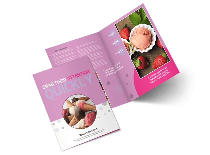 Local Ice Cream Parlor Bi-Fold Brochure Template