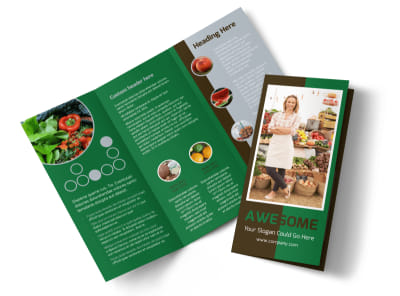 Delicious Food Co-op Tri-Fold Brochure Template preview