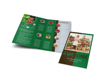 Delicious Food Co-op Bi-Fold Brochure Template preview