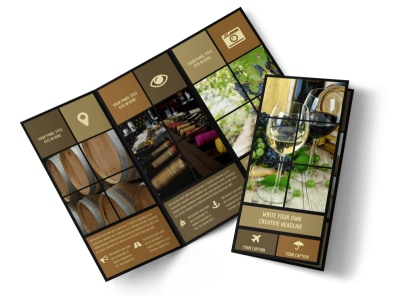 Wine Country Vineyard Tri-Fold Brochure Template preview