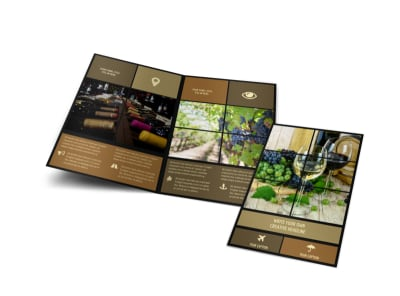 Wine Country Vineyard Bi-Fold Brochure Template preview