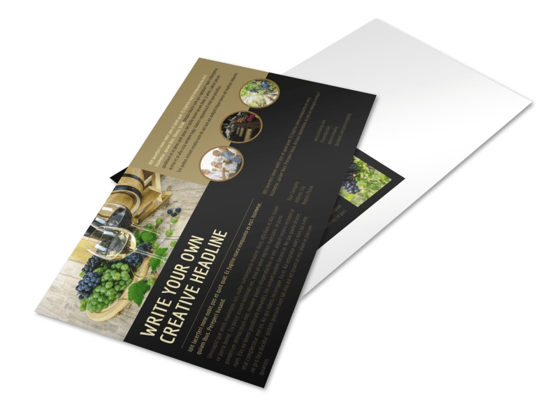 Wine Country Vineyard Postcard Template