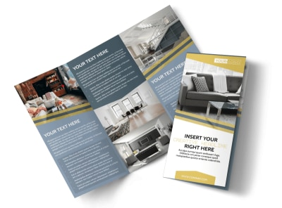 Furniture & Interior Design Tri-Fold Brochure Template preview