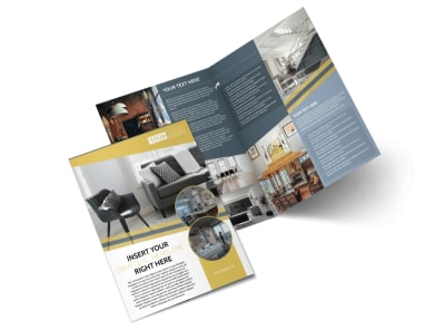 Furniture & Interior Design Bi-Fold Brochure Template preview