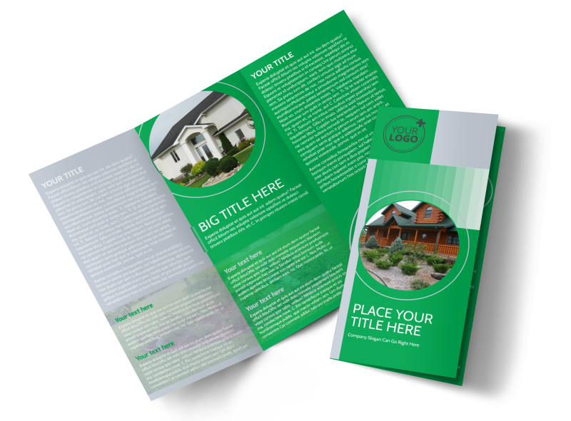 Residential Landscaping Tri-Fold Brochure Template