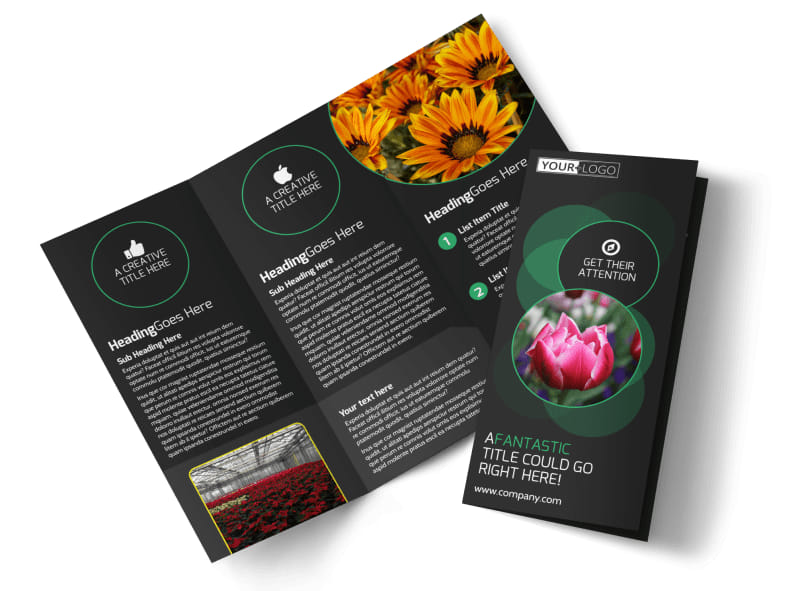 Floral Greenhouse Tri-Fold Brochure Template