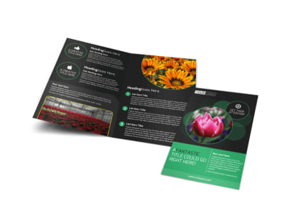 Floral Greenhouse Bi-Fold Brochure Template