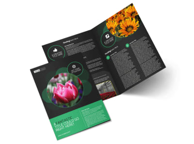 Floral Greenhouse Bi-Fold Brochure Template preview