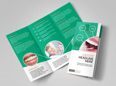 Premier Dental Clinic Tri-Fold Brochure Template preview