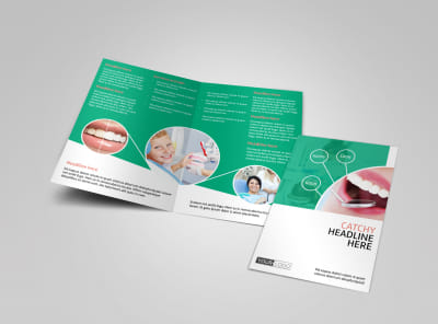 Premier Dental Clinic Bi-Fold Brochure Template preview