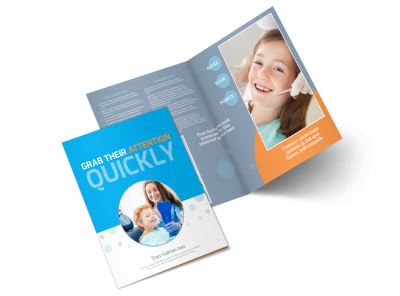 Pediatric Dental Care Bi-Fold Brochure Template preview