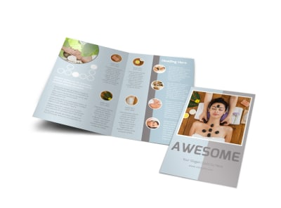 Asian Health Massage Bi-Fold Brochure Template preview