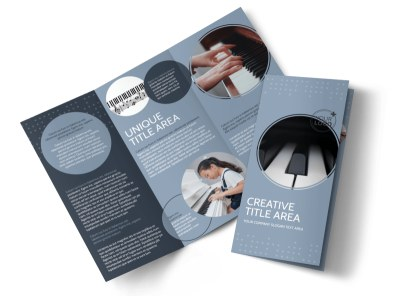 Piano Studio Tri-Fold Brochure Template preview