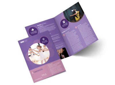 Main Dance Studio Bi-Fold Brochure Template preview