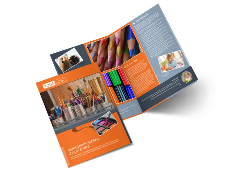 Art Materials Bi-Fold Brochure Template