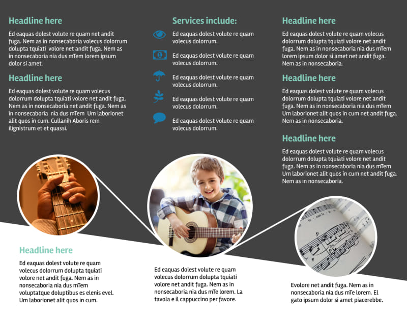 Getting Started Guitar Lessons Brochure Template Preview 3