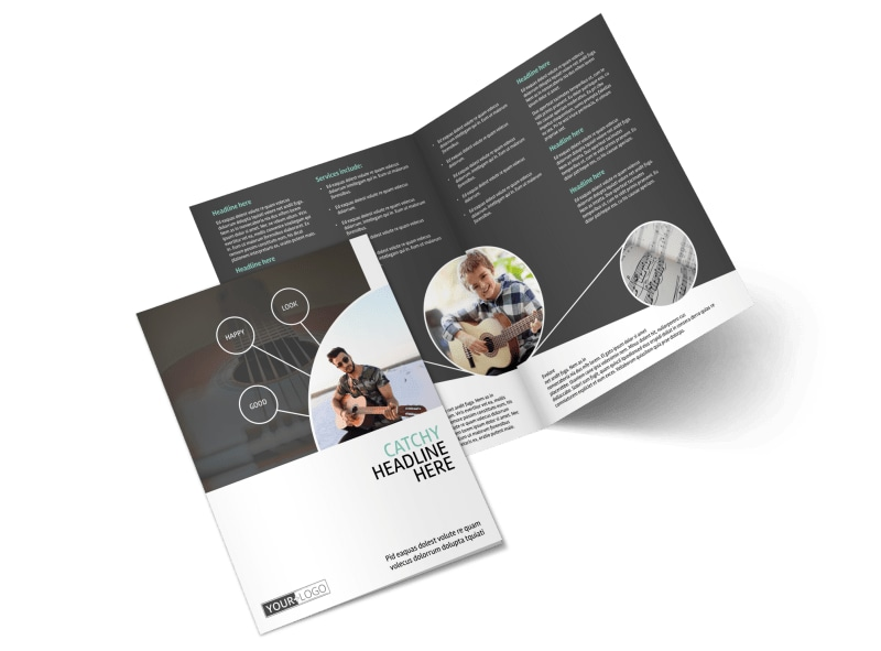 Getting Started Guitar Lessons Bi-Fold Brochure Template