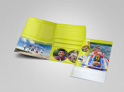 Lakeside Summer Camp Bi-Fold Brochure Template preview