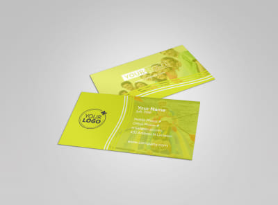 Lakeside Summer Camp Business Card Template preview