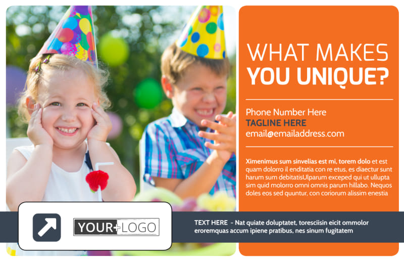 Kids Party Supply Rental Postcard Template Preview 2