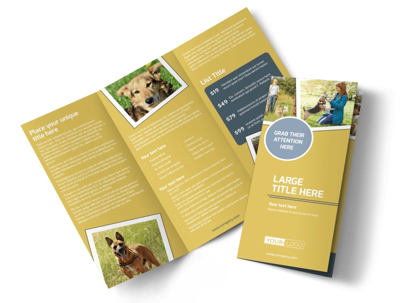 Dog Obedience Club Tri-Fold Brochure Template