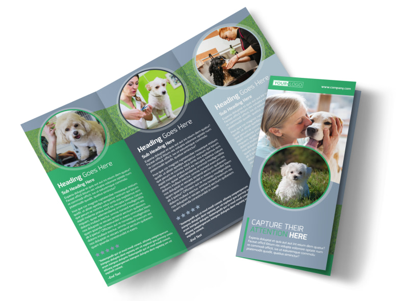 Dog Wash & Grooming Tri-Fold Brochure Template