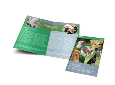 Dog Wash & Grooming Bi-Fold Brochure Template preview