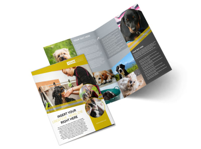 Dog Wash Service Bi-Fold Brochure Template