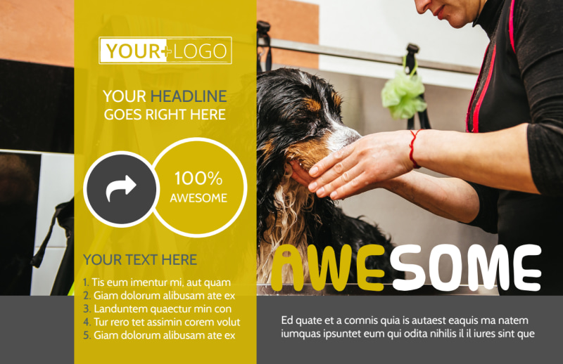 Dog Wash Service Postcard Template Preview 2