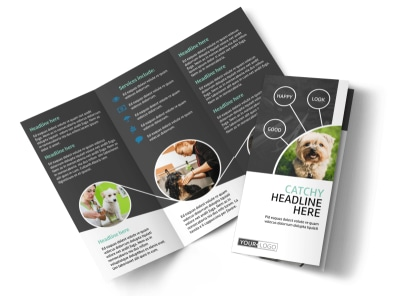 Pet Groomers Tri-Fold Brochure Template preview