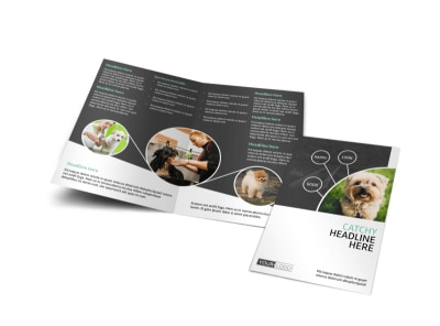 Pet Groomers Bi-Fold Brochure Template preview