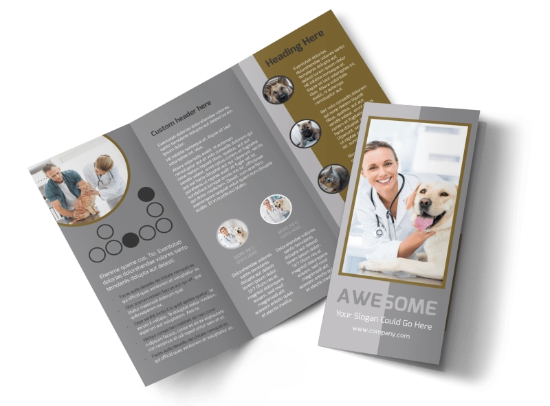 Local Veterinary Clinic Tri-Fold Brochure Template