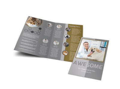 Local Veterinary Clinic Bi-Fold Brochure Template