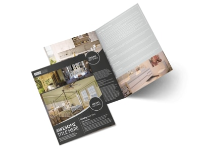 Elegant Villa Rental Bi-Fold Brochure Template preview