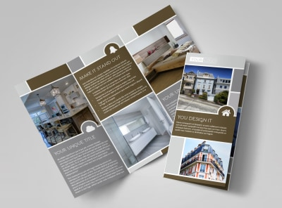 Modern Townhome Rentals Tri-Fold Brochure Template preview