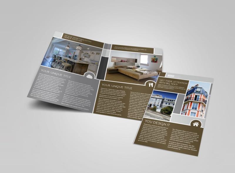 Modern Townhome Rentals Bi-Fold Brochure Template