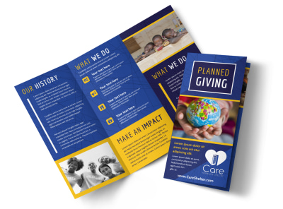 Charity Fundraiser Tri-Fold Brochure Template preview