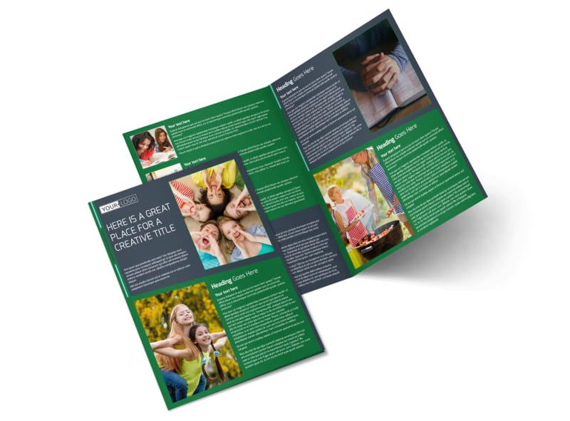 Church Fellowship Bi-Fold Brochure Template