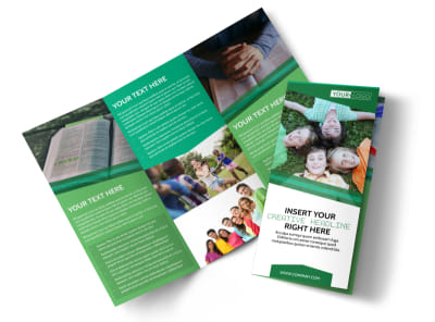 Inspiration Bible Camp Tri-Fold Brochure Template preview