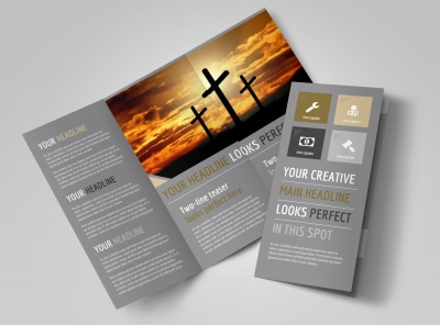 Church Informational Tri-Fold Brochure Template preview
