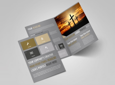 Church Informational Bi-Fold Brochure Template