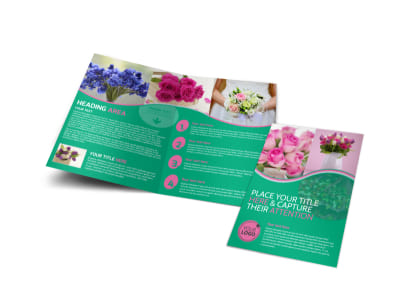 Floral Delivery Service Bi-Fold Brochure Template preview