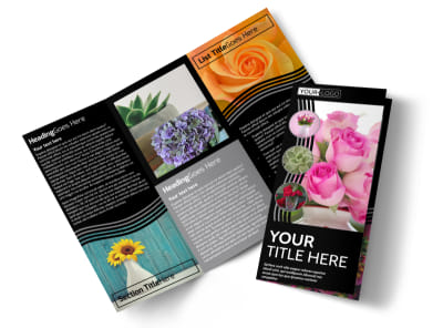 Floral Gift & Garden Tri-Fold Brochure Template preview