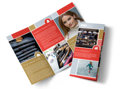 Boutique Cothing Store Tri-Fold Brochure Template preview