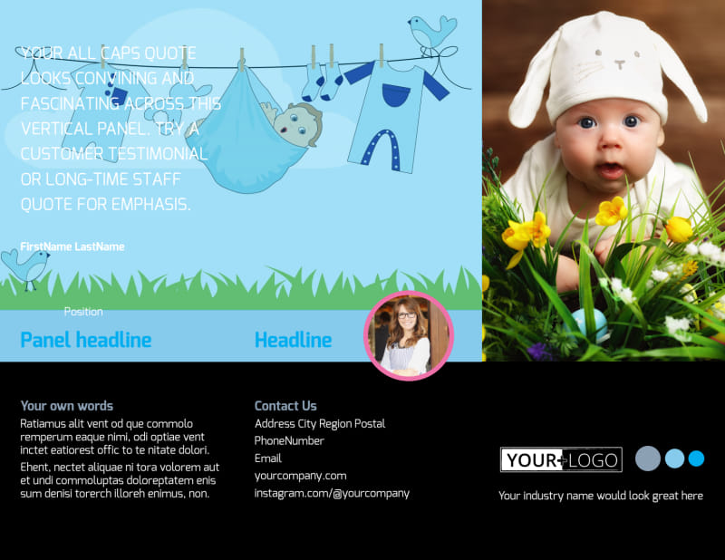 Baby Clothes Brochure Template Preview 2