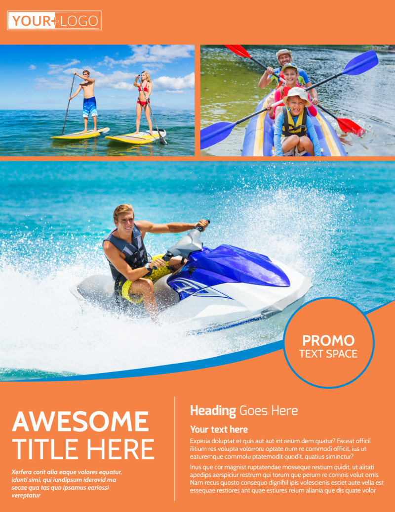 Bay Water Sport Rentals Flyer Template Preview 2