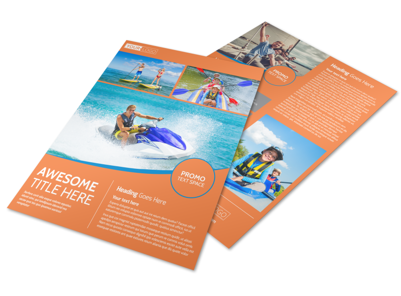 Bay Water Sport Rentals Flyer Template Preview 1
