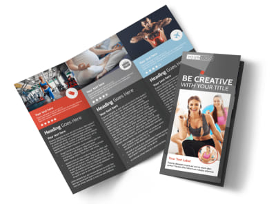 Health Club Fitness Tri-Fold Brochure Template preview